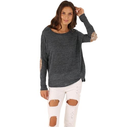 Neue Fashion Damen T-Shirt Runde Hals Langarm Splice Dekoration unregelmäßige Saum Spitze Tee
