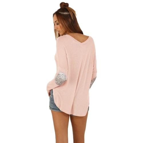 Nueva camiseta de las mujeres de moda redondo cuello manga larga empalme decoración borde Irregular Tops t