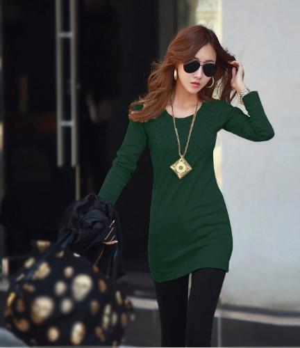 As mulheres coreanas novas longa camiseta strass decoração mangas compridas O-garganta Tops básicos preto/rosa escuro/verde