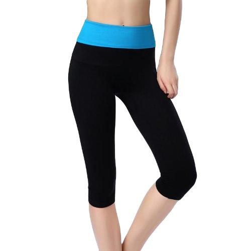 Nueva moda mujer deportes polainas contraste alto Waistaband ancho Elasticed cintura ocasionales piratas