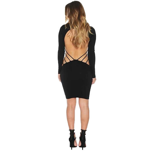 Sexy Cross Strap Backless Hollow Out Long Sleeve Bodycon Dress for Women