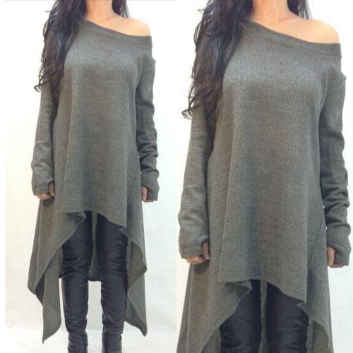 Moda mujer camiseta vestido fuera de hombro largo manga asimétrica informal suelto Vestido de Jersey