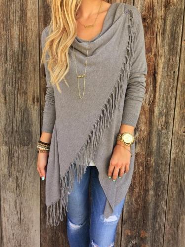 Nueva moda mujer Cardigan suéter borla cruzada manga larga capa Top de punto abrigos y chaquetas blanco/gris