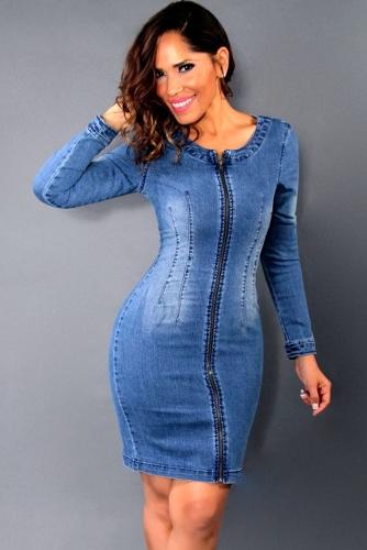 Nowych Kobiet Mini Denim Sukienka Przekroczony Pasek Z tyłu Zipper O Neck Bodycon Slim Casual Dress Blue