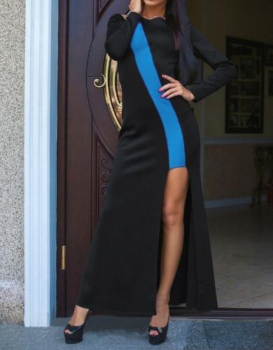 Novas mulheres Sexy vestido decotado contraste cor manga longa O-garganta bainha Irregular fenda longo vestido azul/vermelho/amarelo