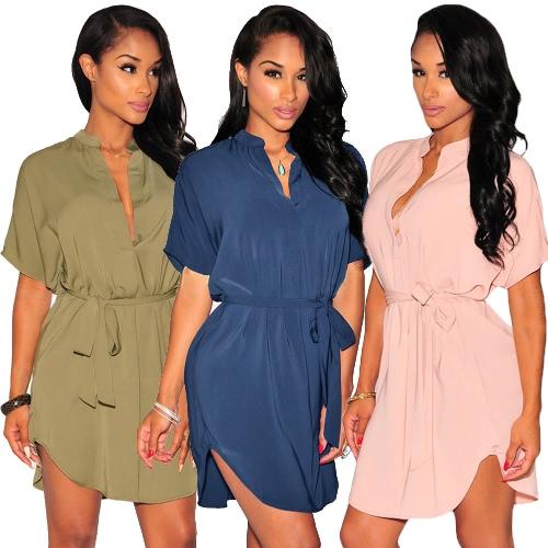 TOMTOP / Nova moda mulheres camisa vestido V decote manga curta curva bainha cinto sólido solto Casual Mini uma peça azul/rosa/verde