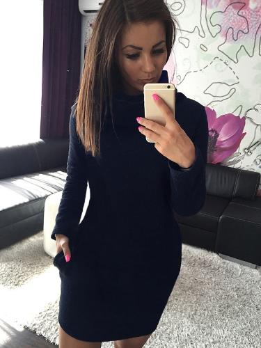 Europa moda mulheres vestem gola alta lado bolso manga longa sólido Mini vestido azul/cinza/vermelho escuro