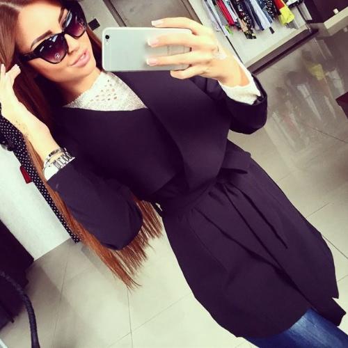 Nuova moda donna cappotto asimmetrico aperto davanti Turn-down colletto manica lunga cinghia Capispalla Red/Black