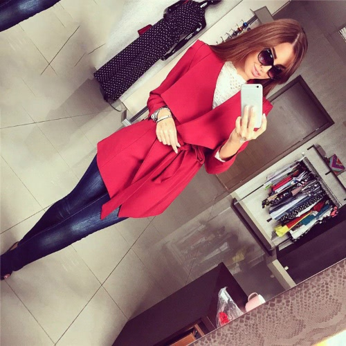 Nueva moda mujer abrigo asimétrico abierto frontal descubierta cuello manga larga correa abrigos rojo/negro