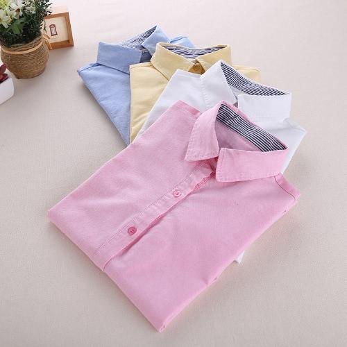 TOMTOP / Nova moda mulheres camisa listrada gola virada para baixo botão Placket cor sólida manga longa Blusa Tops