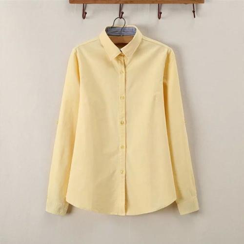 Nouveau mode chemise rayée Turn-Down col bouton patte de boutonnage couleur unie manches longues Blouse hauts femmes