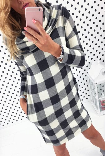 Europas Frauen Kleid Kontrast Karo Print Seitentasche drapiert Neck Langarm Minikleid grau/schwarz