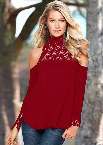Fashion Crochet Lace Hollow Out Off Shoulder Cotton Blouse for Women
