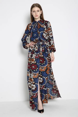 Vintage Floral Print Drawstring Split Long Sleeve Maxi Dress for Women