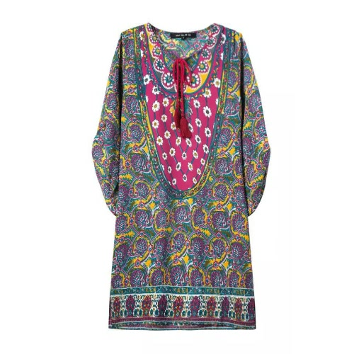 Neue Frauen Minikleid Floral Print Lace geraffte Split O Hals 3/4 Batwing Ärmel lose Vintage lässig gelbes