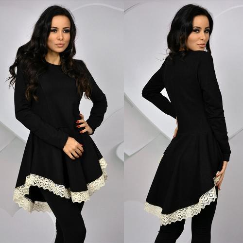 Neue Mode Frauen kleiden O Neck Langarm Lace Trim schlanke Dame Solid Color Dress schwarz/Khaki/grün