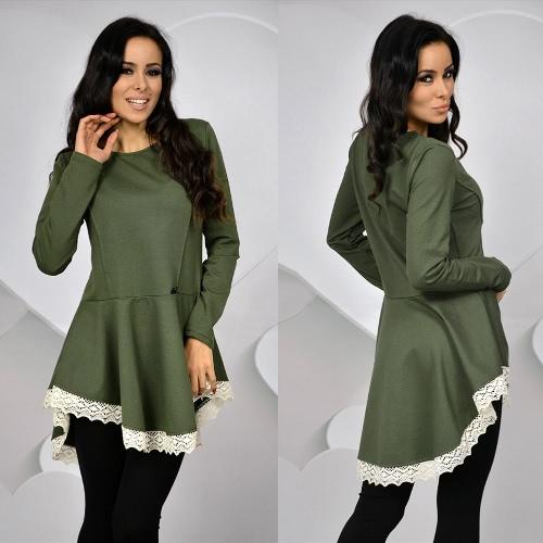 Nueva moda mujer vestir O cuello manga larga encaje ajuste delgado Color sólido de la señora vestido negro/caqui/verde