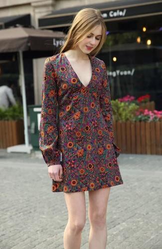 Nueva moda mujer vestido Retro flores grabado profundo escote en v linterna manga Casual dama vestido naranja