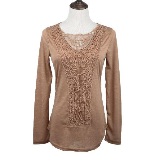 Nova moda mulheres t-shirt Crochet Lace painel redondo pescoço manga longa Slim Fit sólido blusa Casual verde/branco/caqui