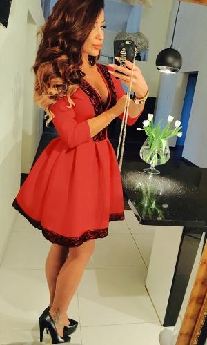 Moda mujer vestido de encaje de 3/4Sleeves de profundo escote en v plisado vestido de fiesta Sexy
