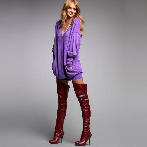 Nuova moda donne t-shirt V collo manica lunga Faux tasca Design solido sciolto lungo Casual Top