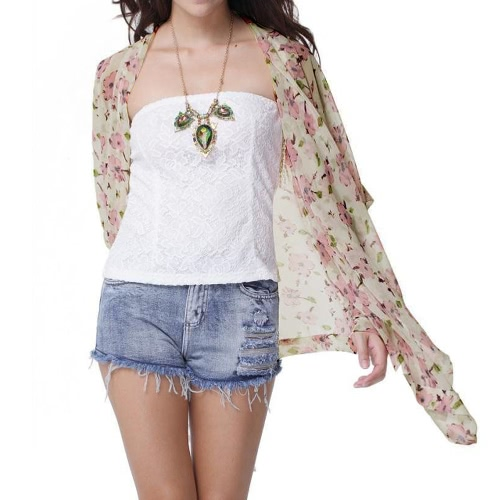Fashion Floral Print Irregular Hem 3/4 Sleeve Chiffon Kimono Coat for Women