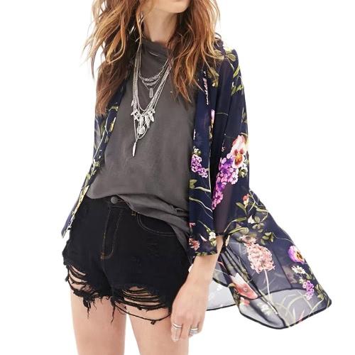 New Fashion Women Chiffon Cardigan Open Front Floral Print Half Sleeve Kimono Black
