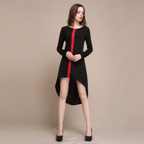Nova moda mulheres vestido contraste Vertical Stripe mais volta Irregular assimétrico Casual uma peça branco/vermelho