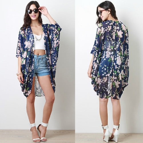 Summer Fashion Women Printed Chiffon Kimono Cardigan Half Sleeve Casual Loose Boho Coat Blouse Dark Blue