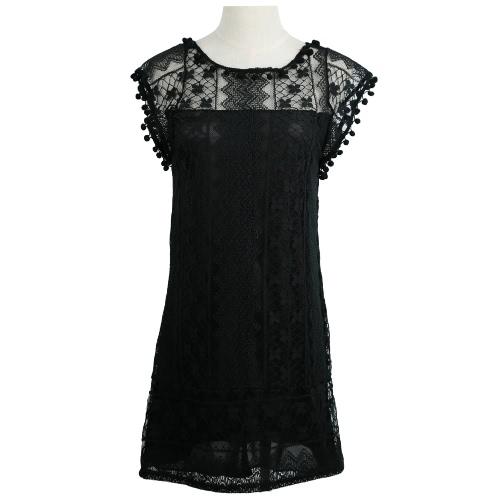 Las mujeres de moda de Europa Vestido de encaje Floral Pom Pom Trim bola O cuello lindo Sexy Mini vestido blanco/negro