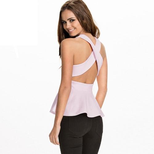 Moda mulheres Peplum Tank Top Cross volta redonda pescoço sem mangas Bodycon Tops t-shirt rosa/branco/azul