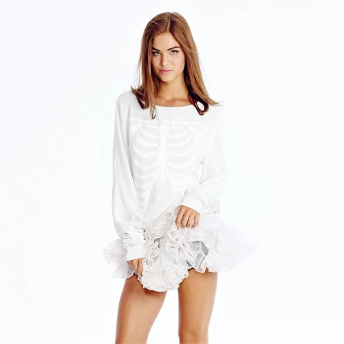 New Fashion Women T-Shirt Skeleton Print Round Neck Long Sleeve Tops Pullover Sweater White