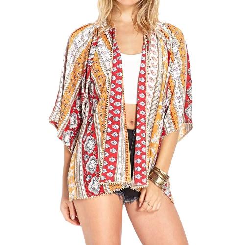 Nowy rocznik Kobiety Szyfonowa Kimono Floral Print Indyjski Styl Boho Casual Luźny sweter cienką warstwę Red