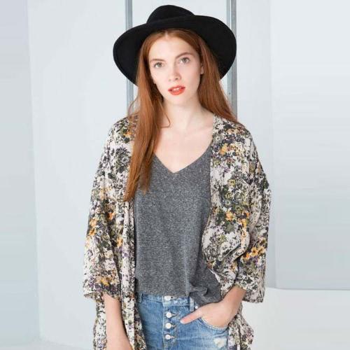 Summer Fashion Women Chiffon Kimono Floral Print 3/4 rękaw Casual Luźny Plaża Cardigan Długi Płaszcz Bluzka zielona