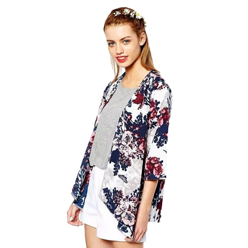 Novas mulheres Outerwear aberto Batwing impressão Floral frontal 3/4 manga bainha Irregular fino Vintage Cardigan solto casaco azul