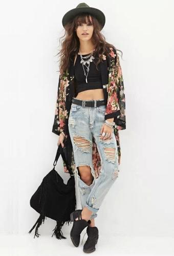 Moda mulheres Outerwear aberta frontal Floral impressão longa morcego mangas fino Vintage Cardigan solto casaco preto