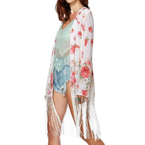 Nueva mujeres gasa ropa borla impresión Floral frontal abierto manga larga fina elegante chaqueta suelta capa rojo