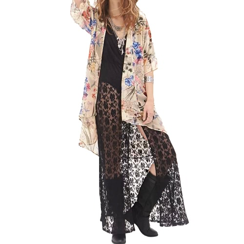 New Women Chiffon Outerwear Open Front Floral Leaf Print Half Sleeves Thin Elegant Loose Cardigan Coat Yellow