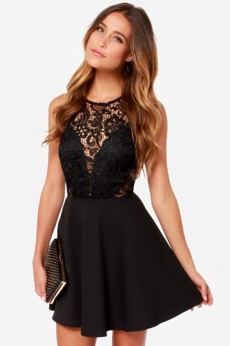 Chic Mesh Lace Splice bez ramiączek Kobiet Łyżwiarka Mała Czarna Sukienka