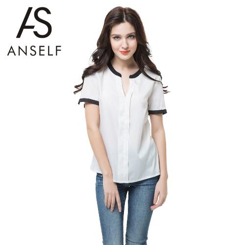 Neue Mode Frauen Chiffon Bluse Kontrast V Ausschnitt kurze aufgeteilt Langarm Freizeithemd Sexy Tops weiß