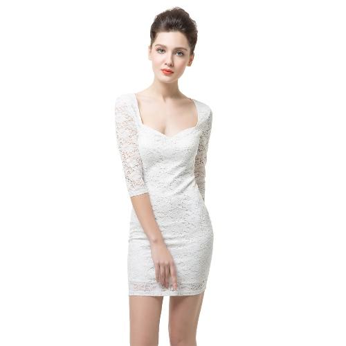 Seksowny Sweetheart Kwiatu Szyja Połysku Sleeve Damska Slim Białej Mini koronki Sukienka