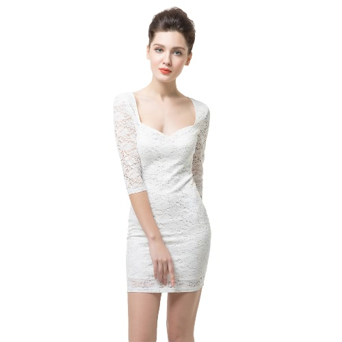 Nuevo Sexy mujer encaje Floral vestido baja V cuello media manga Zip nuevo Slim fiesta Bodycon Mini vestido blanco