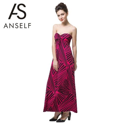 Neue Mode Frauen Kleid Stripe aus der Schulter Polsterung String vorne Party Kleid Rose