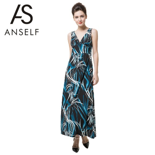 Neue Sexy Frauen lange Maxi Kleid Print tiefe V Hals rückenfreie elegante Böhmisch Party Beach Slip Kleid dunkelblau