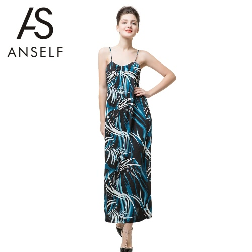 Neue Sexy Frauen elegante Kleid Kontrast-Print V Hals Spaghetti Strap Light Pad Strand Maxi Dress Blue