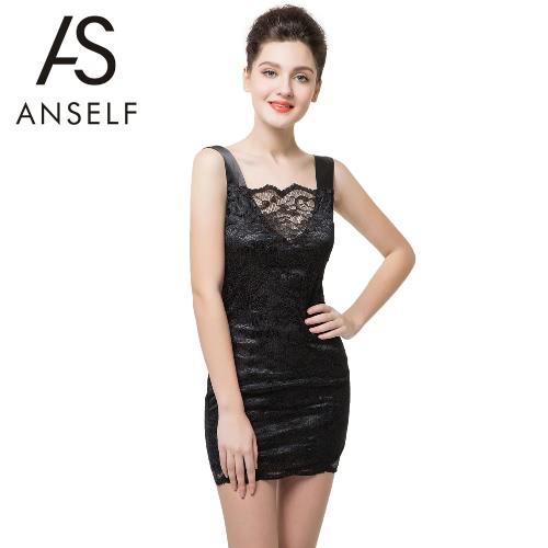 Nuevas mujeres Sexy Mini vestido de encaje salida hueco sin respaldo espaguetis correa elegante fiesta Bodycon Club Slip vestido negro