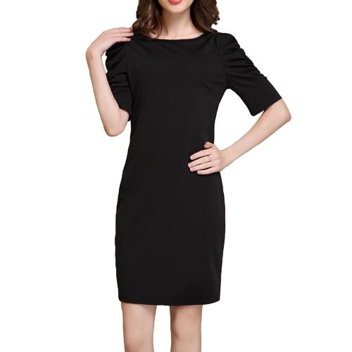 ファッション女性ミニドレス O 首半分パフ袖ファスナー ボディコン パーティー OL エレガント ドレス ブラック