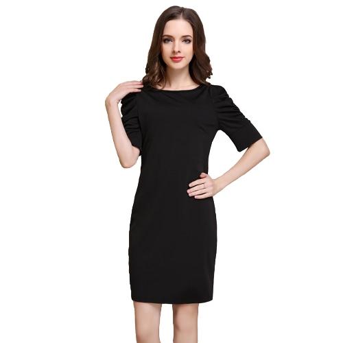Moda mujer Mini vestido Puff media O cuello mangas cremallera fiesta Bodycon OL vestido elegante negro