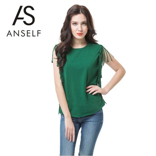 Nueva moda mujer camiseta borla flecos verde sin mangas sólido Regular Fit Casual Tops de cuello redondo