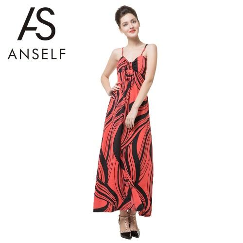 Nueva moda mujer Maxi vestido contraste raya impresión Color bloque espaguetis correa Casual playa vestido naranja